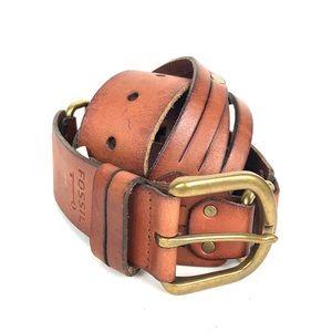 Fossil cognac tan leather belt gold buckle sz M